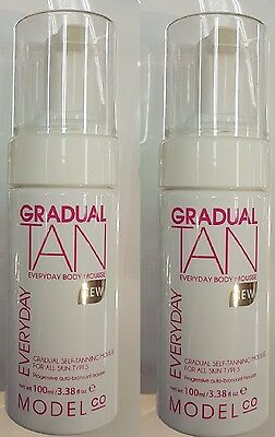 "2 X MODEL CO GRADUAL TAN ""EVERYDAY BODY MOUSSE"" 100ml All SKIN Types"