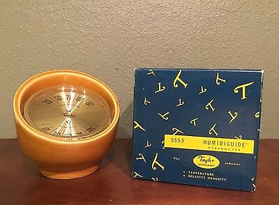 Vintage Taylor USA Thermometer and Humidity Mustard Yellow Tabletop Hygrometer