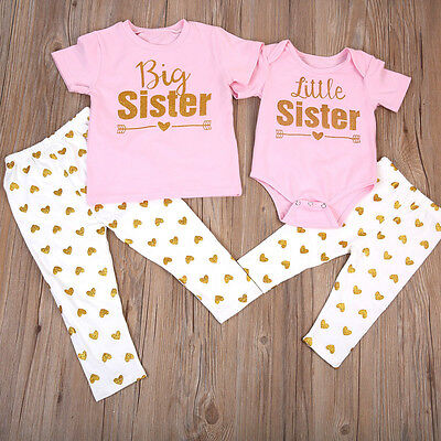 US Stock Newborn Baby Girls Romper T-shirt Tops +Pants Leggings Outfits Family