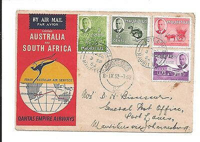 vintage 1952 first airmail australia to south africa qantas empire airways stamp