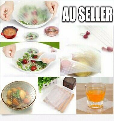 3Pcs SET Reusable Silicone Food Fresh Keeping Wrap Stretch Cling Film Kitchen