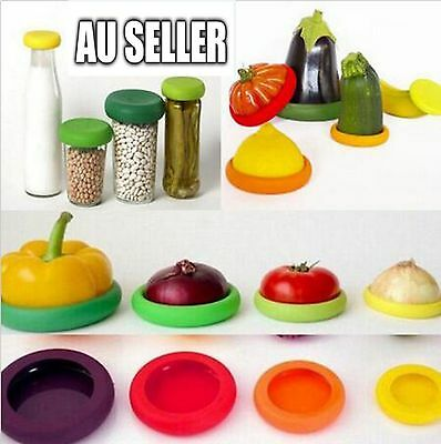 4PCS Assorted Silicone Vegetable Fruit Food Huggers Kitchen Storage Cover Cap