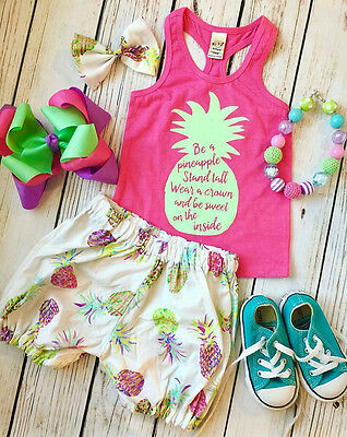 US Stock Kids Toddler Baby Girls Summer Outfit Clothes T-shirt Tops+Shorts Pants