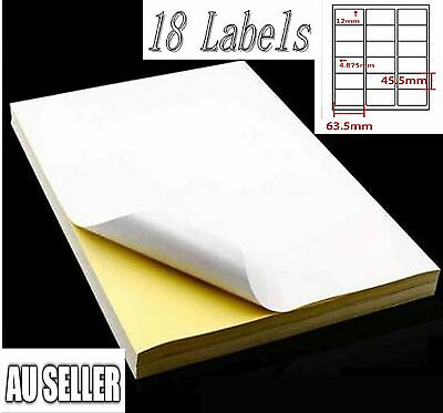 100 X 18 labels per A4 White Matt Self-Adhesive Sticker Laser Copier Print Paper