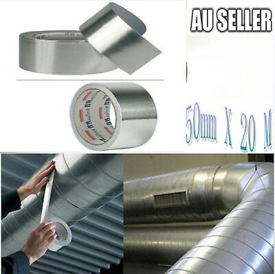 10 X Reinforced Aluminium Silver Foil Tape Insulation Heating Duct 50mm x 20m