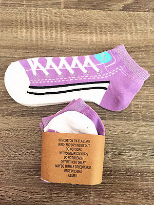 Women's Lady New 3 Pairs Cotton Sports Ankle Low Cut Running Purple Socks
