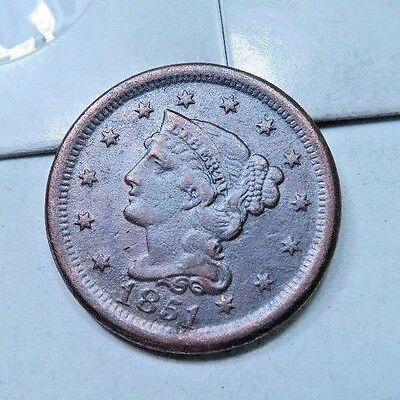 1851 Braided Hair Large Cent // XF-VF // (LC804)