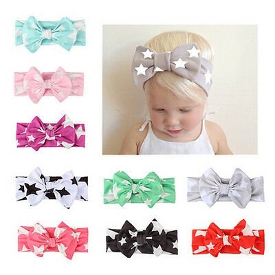 New Kids Girl Baby Headband Toddler Star Print Bow Flower Hair Band Accessories