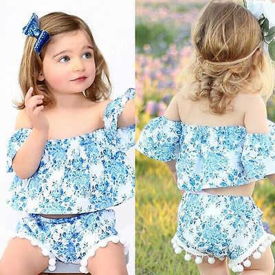 US Stock Baby Kids Girls Summer Outfits Toddler Top Shirt Pants Shorts Clothes