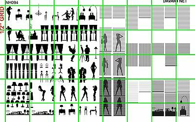 NH094 1/2 Set N SCALE WINDOW SILHOUETTE CURTAIN PEOPLE BLINDS DAVE'S DECALS