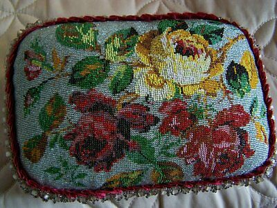 Antique Victorian Beaded Pillow Cushion Floral Red Pink Green Gold beaded fringe