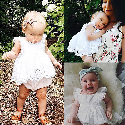 US Newborn Toddler Baby Girl Infant Lace Romper Jumpsuit Bodysuit Clothes Outfit