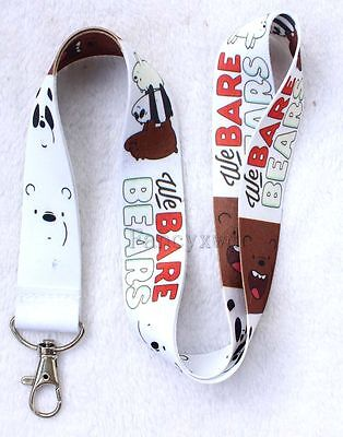 New Lot of 10 pcs Cartoon Mobile Keys ID Neck Strap Keychain We Bare Bears