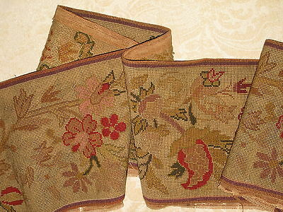 "8' x 9""  19TH CENTURY ANTIQUE NEEDLEPOINT TAPESTRY FLORAL BORDER VALANCE"