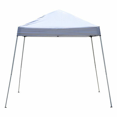 Outsunny 8x8ft Easy Pop Up Canopy Party Tent Outdoor Shelter w/Slant Leg White