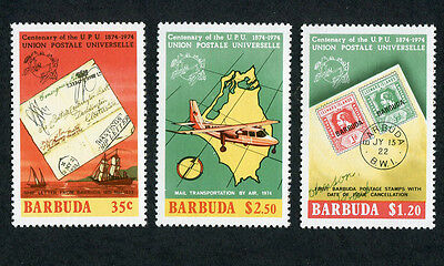 BARBUDA 1974 Cent. of U. P. U., 2nd issue, SET OF 3, MINT  Never Hinged