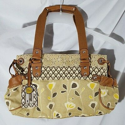 FOSSIL Original Brand Tan/Yellow Canvas Tote Satchel Shoulder Bag Purse