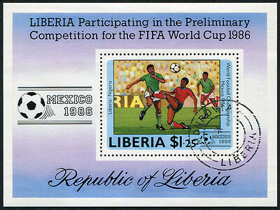 LIBERIA 1985 World Cup Football Championship, MINI SHEET, USED Never Hinged