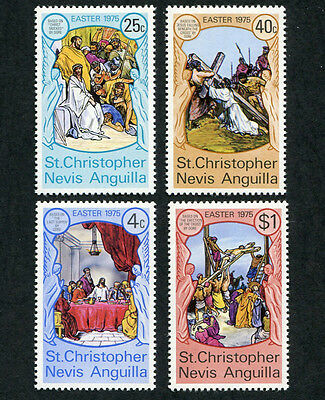 ST. CHRISTOPHER NEVIS ANGUILLA 1975 Easter, SET OF 4, MINT Never Hinged