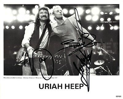 URIAH HEEP 8x10 Promo Picture MICK BOX Lee Kerslake MOSCOW 1987 Autograph SIGNED