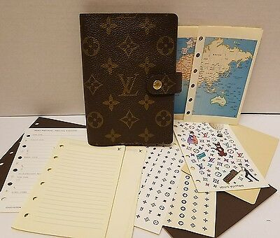 Authentic LOUIS VUITTON Agenda PM with Stickers, Paper, Maps