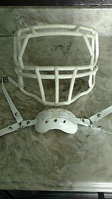 Rare white Used Riddell Speed facemask and Adams chinstrap