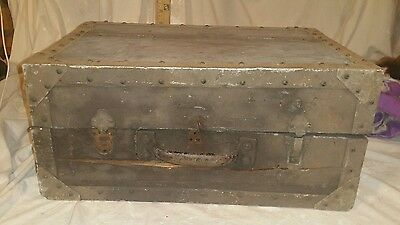 Antique salesman trunk or pirate treasure chest