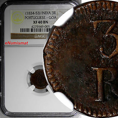 India-Portuguese GOA Maria II Copper (1834-53) 3 Reis NGC XF40BN  SCARCE KM# 257
