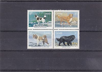 """Canada, 1988, """"canadian Dogs"""" Block Of 4 Stamp Set. Mint Nh. Fresh"""