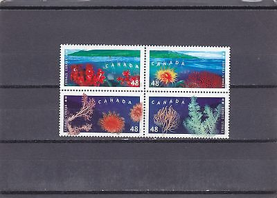 """Canada, 2002, """"corals Of Canada Join W/hk"""" Block Of 4 Stamp Set. Mint Nh. Fresh"""