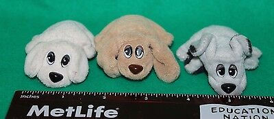 Lot of 3 Vintage Mini Galoob Pound Puppies - Gray - Tan - Cream - Pre-owned Cond