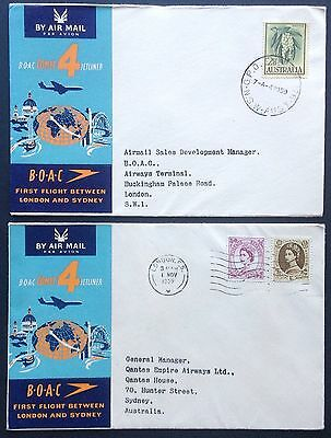 Flight Covers BOAC First Flight London Sydney London 1959