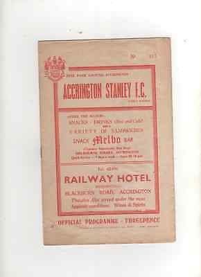 1960-61 Abandoned Accrington Stanley v York City 28th August 1960 Division 4