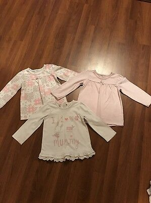 12-18 Months Baby Girls Set Of 3 Matching Long Sleeved T-shirts