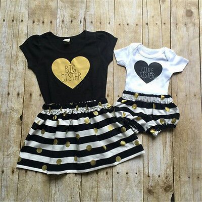 Toddler Kids Baby Girls Romper Pants T-shirt Dress Outfits Matching Clothes USA