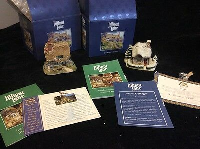 Two Vintage Lilliput Lane Loxdale Cottage, Hollytree House With Boxes Certificat