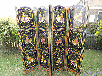 Vintage Indian Hand Painted Folding Screen Room Divider