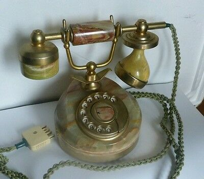 Antique Brass Marble Telephone Rotary Dial Phone Vintage Collectable