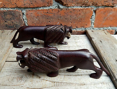 Vintage Mid Century African Hand Carved Wooden Lions Mantelpiece Ornaments