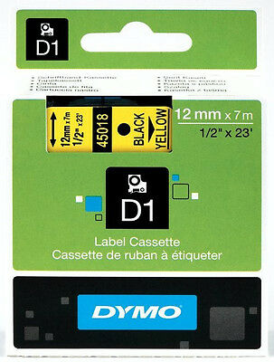 DYMO D1 Black on Yellow Tape 12mm x 7m 45018 S0720580 = NEW = GENUINE =