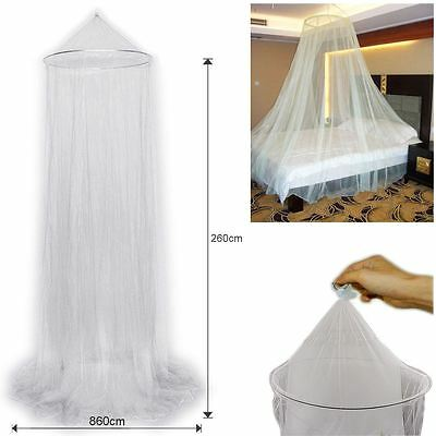 White Crown Mosquito Net Bed Single Double King Midge Insect Fly Canopy UK