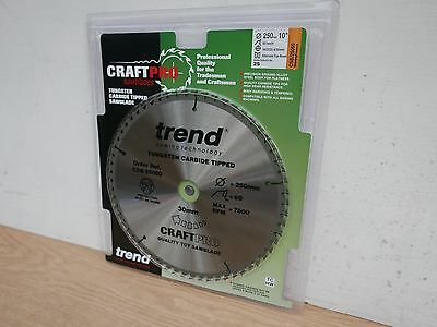 Trend 250Mm X 30Mm 60T Tct Table Mitre Saw Blade Csb/25060 Dewalt Makita Etc