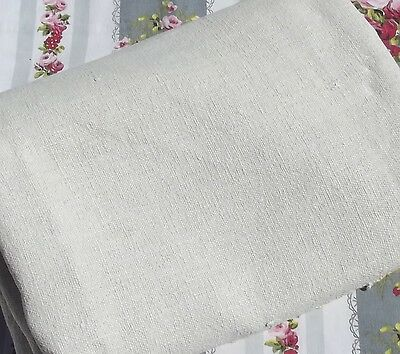 Antique French Cloth hand loomed oatmeal chanvre pure linen grossgrain weave