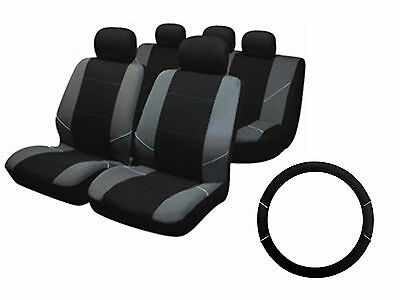 Universal Fit Carnaby Grey Front Rear Seat Covers Black Steering Wheel Cover Set