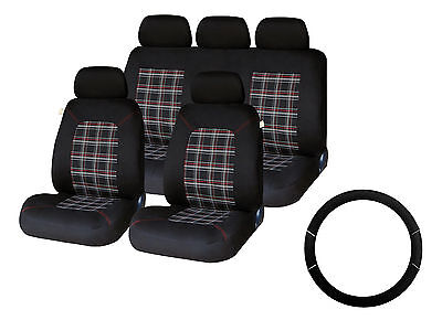 Universal Lambeth Red White Seat Covers Carnaby Black Steering Wheel Cover Set