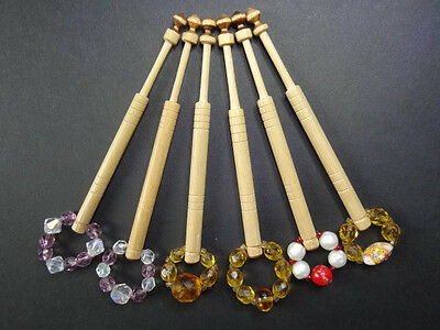 6 lacemaking bobbins  Spangled - Very smooth