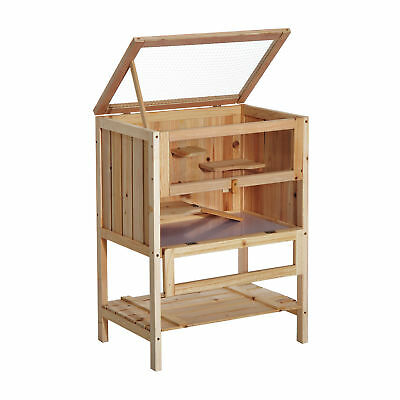 Fir Wood Hamster Pet Mouse Rats House Small Animals Play Exercise Cage w/ 3 Tier