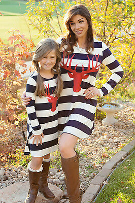 Family Matching Mother Daughter Deer Striped Casual Cotton Kids Dress Clothes US