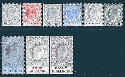 GIBRALTAR-1906-11 ½d to 8/-  An unmounted mint set of 9 Sg 66-74