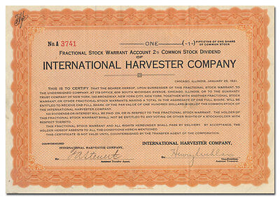 International Harvester Company Stock Certificate